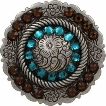 FA4863 LASRP Antique Silver Center Rope Concho with Blue Zircon & Smoked Topaz Rhinestones
