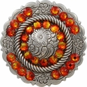 FA4863 LASRP Antique Silver Center Rope Concho with Fire Opal Rhinestones