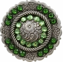 FA4863 LASRP Antique Silver Center Rope Concho with Peridot & Fern Green Rhinestones