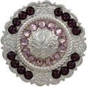 FA4863 SP Polished Silver Center Rope Concho with Amethyst & Lt Amethyst Rhinestones