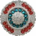 FA4863 SP Polished Silver Center Rope Concho with Blue Zircon & Padparadscha Rhinestones
