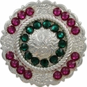 FA4863 SP Polished Silver Center Rope Concho with Emerald & Fuchsia Rhinestones