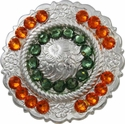FA4863 SP Polished Silver Center Rope Concho with Erinite & Sun Rhinestones