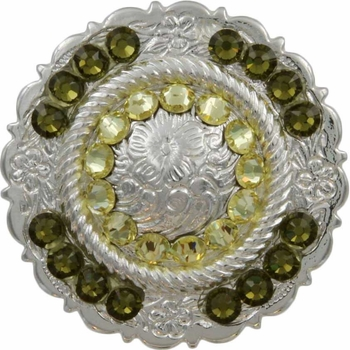 FA4863 SP Polished Silver Center Rope Concho with Jonquil & Khaki Rhinestones