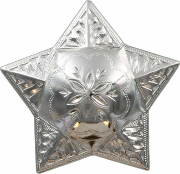 FA5029-2 SP Polished Silver Star Windrose Concho 1-1/2""