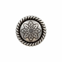 FA5053-1 LASRP Antique Silver Rope Edge Flower Engraved Concho 3/4""
