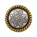 FA5053-3 ASAG Antique Silver and Gold Rope Edge Flower Engraved Concho 1-1/4''