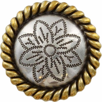 FA5053-2 ASAG Antique Silver and Gold Rope Edge Flower Engraved Concho 1''
