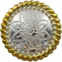 FA5053-5 GSP Polished Silver and Gold Rope Edge Flower Engraved Concho 1-3/4''