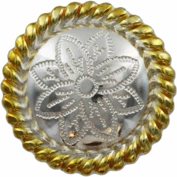 FA5053-1 GSP Polished Silver and Gold Rope Edge Flower Engraved Concho 3/4''