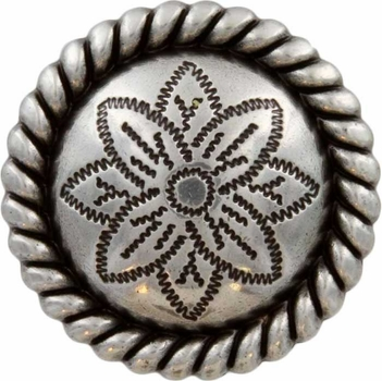 FA5053-3 LASRP Antique Silver Rope Edge Flower Engraved Concho 1-1/4""