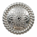 FA5053-4 SP Polished Silver Rope Edge Flower Engraved Concho 1-1/2''