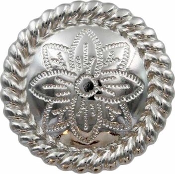 FA5053-1 SP Polished Silver Rope Edge Flower Engraved Concho 3/4''