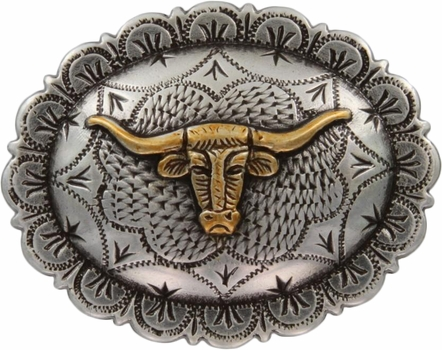 "FA5074 ASAG Antique Silver and Gold Longhorn Oval Concho 1-1/2"" by 1-1/4"""