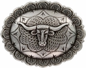 "FA5074 LASRP Antique Silver Longhorn Oval Concho 1-1/2"" by 1-1/4"""
