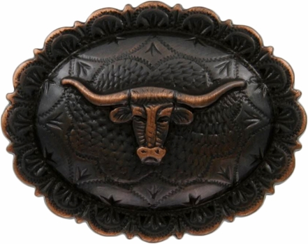 "FA5074 SVCRB Antique Copper Longhorn Oval Concho 1-1/2"" by 1-1/4"""