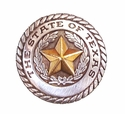 FA5320 ASAG State of Texas Antique Silver/Gold Rope Edged Star Concho - 1''