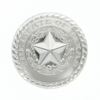 FA5320 SP State of Texas Shiny Silver Rope Edge Star Concho - 1''