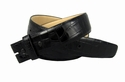 "Genuine Italian Calf Skin Crocodile Embossed Strap 1 3/8"" -Black"