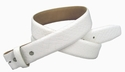 "Genuine Italian Calf Skin Crocodile Embossed Strap 1 3/8"" - White"