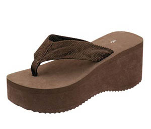 "Gino-01 3"" Heel Flip Flop 18 Pair- Brown"