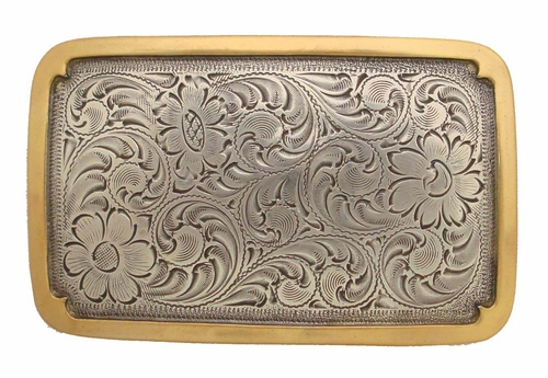 H8134 ASAG Sterling Silver Gold Plated Western Belt Buckle