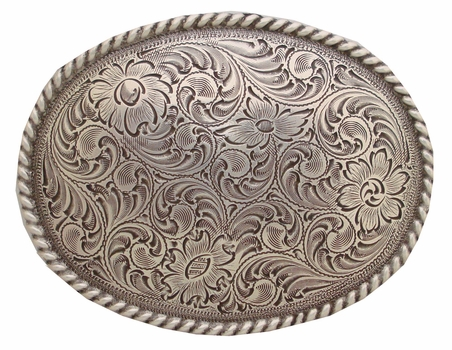 H8136 LASRP Antique Silver Rope Western Belt Buckle