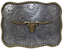 H8143 ASAG Western Texas Longhorn Steer Antique Silver and Gold Belt Buckle