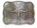 H8143 LASRP Western Texas Longhorn Steer Belt Buckle