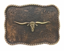 H8143 MOEB61 Longhorn Steer Head Copper Finish Western Belt Buckle