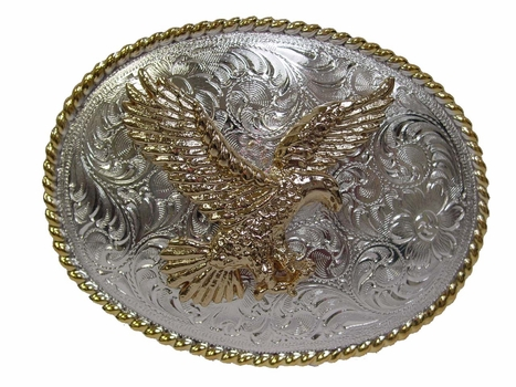 H8170 GSP Gold American Eagle Western Belt Buckle
