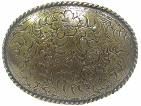 H8191-1 OEB Western Floral Engraved Pattern Antique Brass Finish Belt Buckle