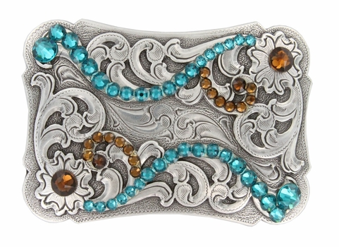 HA0038 Swarovski Crystal Rhinestone Belt Buckle - Blue Zircon /Smoke Topaz