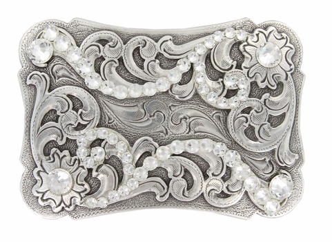 HA0038 Swarovski Crystal Rhinestone Belt Buckle - Clear Crystal