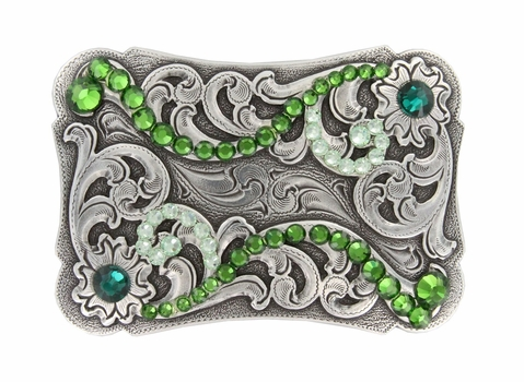 HA0038 Swarovski Crystal Rhinestone Belt Buckle - Fern Green /Chrysolite/Emerald