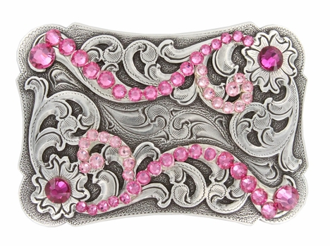HA0038 Swarovski Crystal Rhinestone Belt Buckle - LT Rose/ Fuschia
