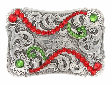 HA0038 Swarovski Crystal Rhinestone Belt Buckle - LT Siam/Fern Green