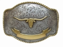HA0435 ASAG Longhorn Steer Ant. Silver and Gold Belt Buckle