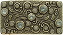 HA0850 Antique Brass Rectangle Engraved Belt Buckle Black Diamond