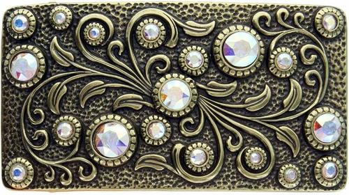 HA0850 Antique Brass Rectangle Engraved Belt Buckle Crystal AB