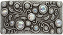 HA0850 Antique Silver Rectangle Engraved Belt Buckle Crystal AB