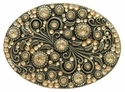 HA0860 Antique Brass Oval Engraved Belt Buckle Lt. Colo Topaz