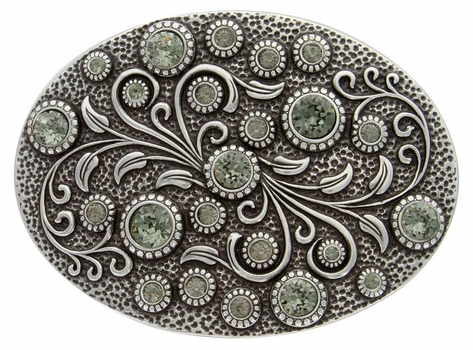 HA0860 Antique Silver Oval Engraved Belt Buckle Black Diamond