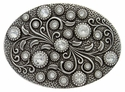 HA0860 Antique Silver Oval Engraved Belt Buckle Crystal