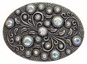 HA0860 Antique Silver Oval Engraved Belt Buckle Crystal AB