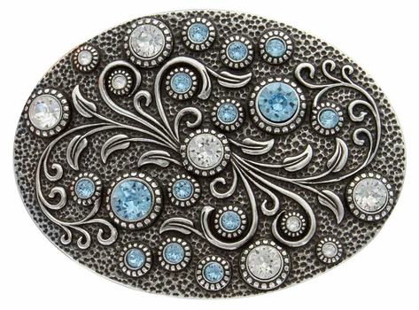 HA0860 Antique Silver Oval Engraved Belt Buckle Crystal/Aquamarine