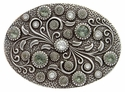 HA0860 Antique Silver Oval Engraved Belt Buckle Crystal/Black Diamond