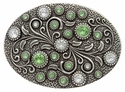 HA0860 Antique Silver Oval Engraved Belt Buckle Crystal/Peridot