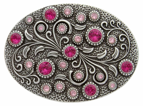 HA0860 Antique Silver Oval Engraved Belt Buckle Fuchsia/Lt. Rose