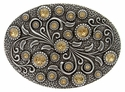 HA0860 Antique Silver Oval Engraved Belt Buckle Lt. Colo Topaz